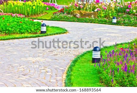 Pattern on walkway in garden beautiful design. - stock photo