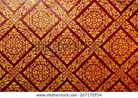 Pattern painting on the wall in the temple,Thailand,public domain or treasure of Buddhism, no restrict in copy or use - stock photo