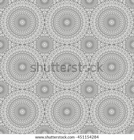 Pattern seamless. Black-white ethnic ornament. Arabesque style