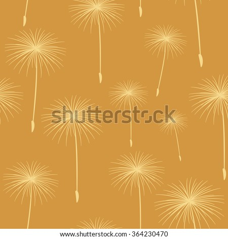 pattern seamless texture background fluffy dandelion White on beige. - stock photo