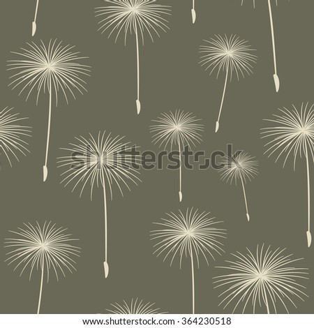 pattern seamless texture background fluffy dandelion White on dark gray. - stock photo