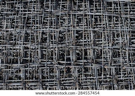 Pattern stack of rebar grids at the construction site - stock photo