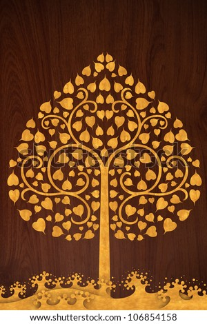 Pattern thai carve wave and tree gold on old wood texture - stock photo