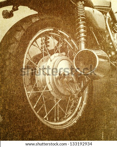 pattern vintage Motorcycle detail - stock photo