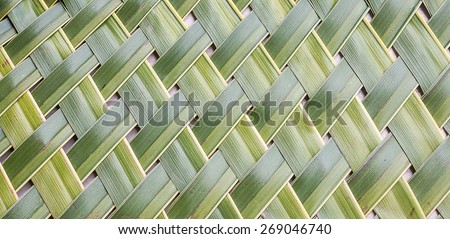 Pattern weaving of coconut leaves for  background - stock photo
