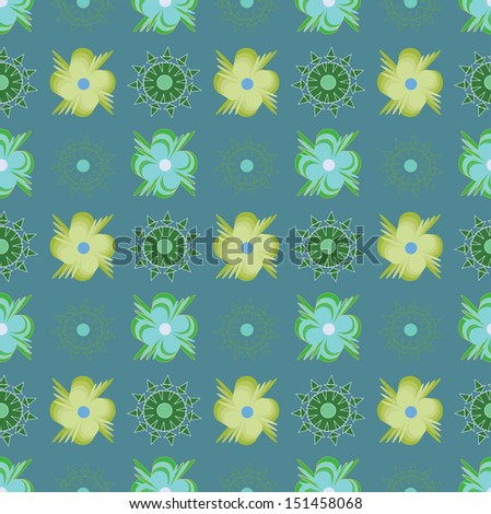 Pattern with abstract green flowers on blue background. - stock photo