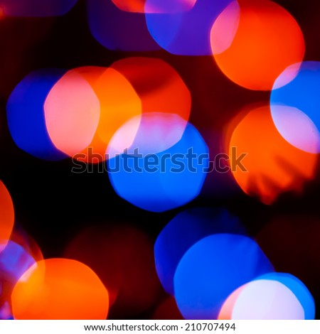 Pattern with blue and orange bokeh lights - stock photo