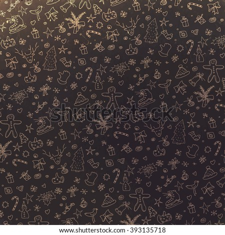 Pattern with Christmas elements. Retro styled. Raster version. - stock photo