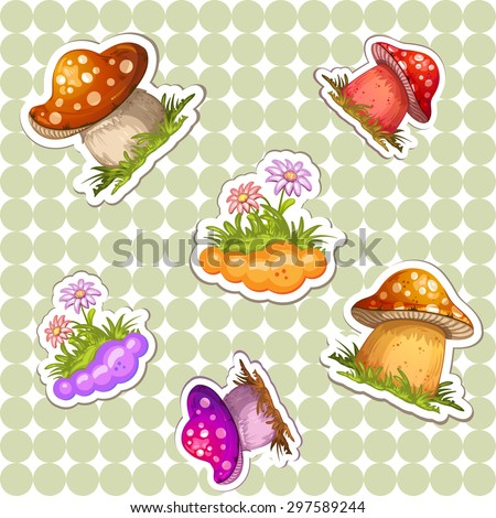 Pattern with colored mushroom - stock photo