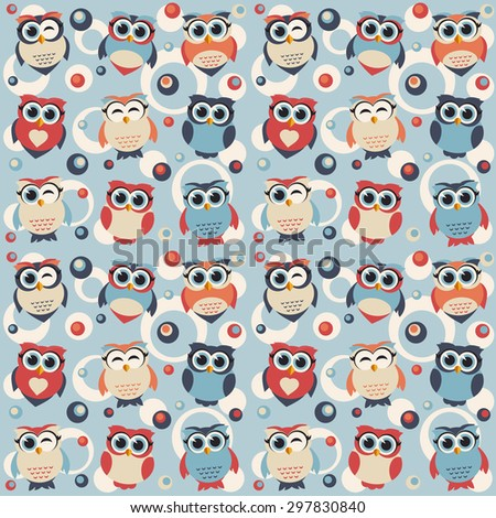 Pattern with cute owls. Raster version - stock photo