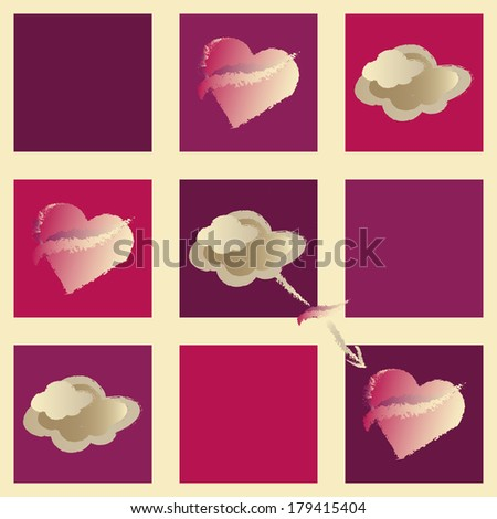 Pattern with hearts and clouds in beige and purple, raster version of vector illustration - stock photo