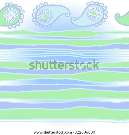 Pattern  with oriental  motif and stripes, ellipses, waves, spots. Hand drawn.