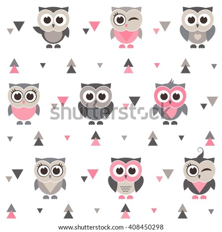 Pattern with owls, owlets and triangles. Raster version - stock photo