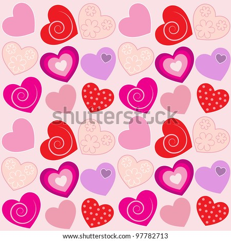 pattern with pink hearts. Raster version.