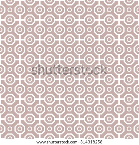 Pattern with seamless  ornament with purple background and white octagons. Modern stylish geometric background with repeating elements - stock photo