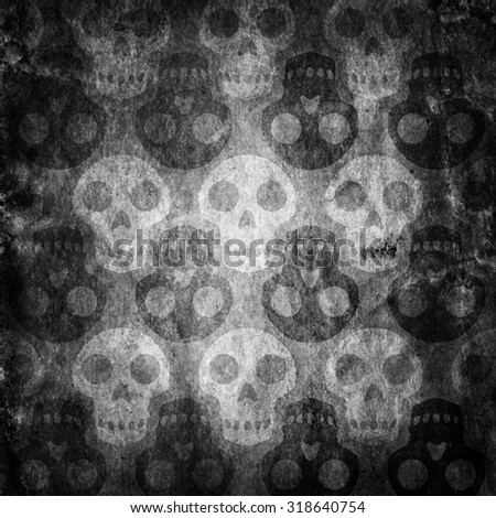 Pattern with skulls. Halloween background. - stock photo