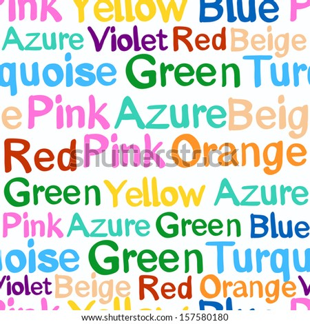 Pattern with words denoting color - stock photo