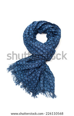 Patterned blue scarf - stock photo