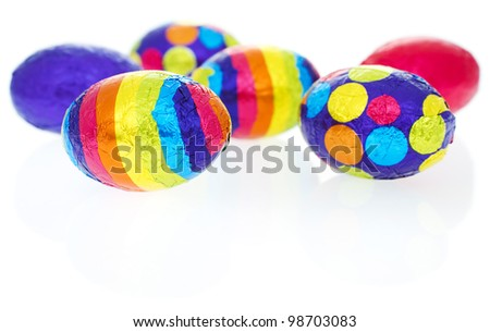 Patterned easter eggs isolated on white background.