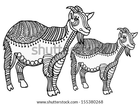 patterned goats on a white background, hand-drawn - stock photo