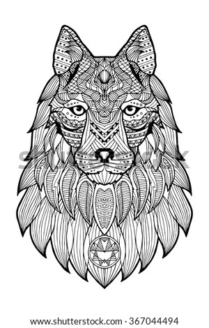 Patterned head of a wolf, coyote, dog monochrome. Abstract ethnic image of the head of a wolf with tribal ornament. The ornament is painted by hand. A series of animals in the ethnic style. - stock photo