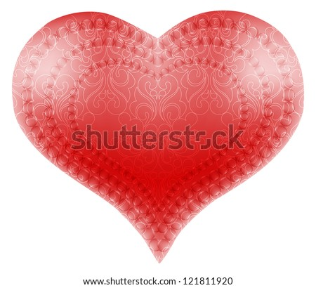 Patterned heart, or an idea for valentine wedding day. Raster copy of vector image - stock photo