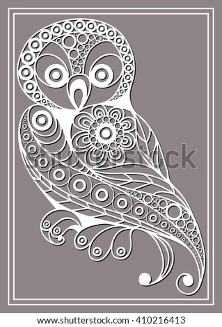 Patterned owl in floral style. Suitable for invitation, flyer, sticker, poster, banner, card,label, cover, web.