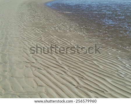 Patterns at low water in the sand of the beach near Costa Calma on Fuerteventura. This island in the Atlantic ocean is one of the Canary islands belonging to Spain - stock photo