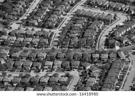 Patterns found in contemporary American suburban housing developments. - stock photo