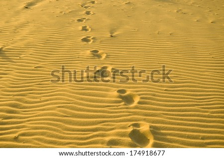 Patterns in the beach sand lit by golden setting sun and footprints in the sand