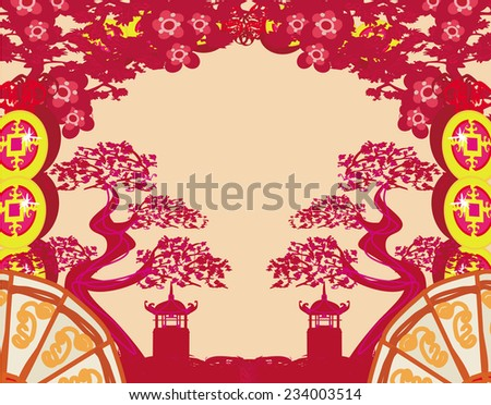 patterns of Chinese landscape  - stock photo