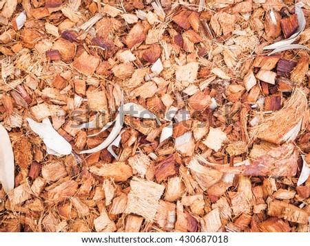 Patterns of coconut fible for soil fertilizer - stock photo