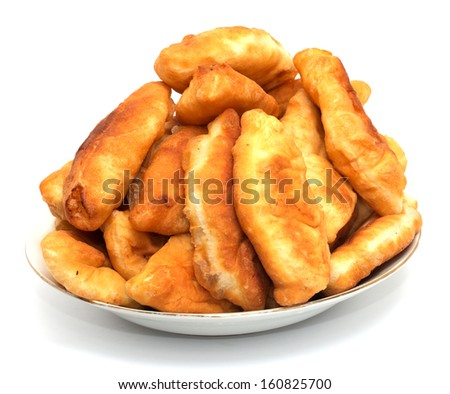 patties in the plate on white background