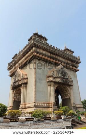 Patuxai Arch monument  in Vientiane, Laos  - stock photo