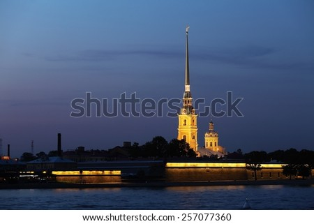 Paul and Peter Cathedral at White Night, Saint Petersburgh, Russia