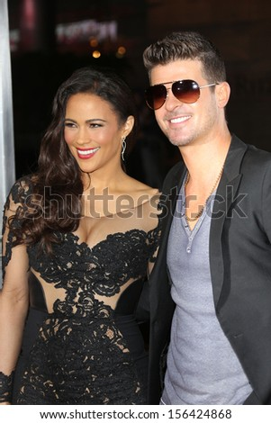 "Paula Patton and Robin Thicke at the ""Baggage Claim"" Premiere, Regal Cinemas, Los Angeles, CA 09-25-13"
