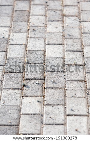 Paved driveway - Gray paving slabs in the form of squares - stock photo