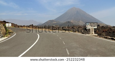 """Paved road leading to the entrance of """"Parque Natural Do Fogo"""" Valcano Park of """"Pico do Fogo"""" on the island of Fogo, Cabo Verde - stock photo"""