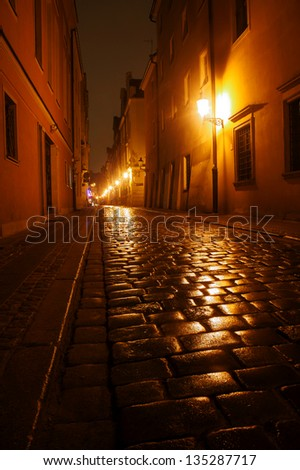 Paved street after the rain, at night in Poznan