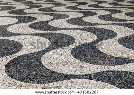 Pavement at Rossio Square in Lisbon