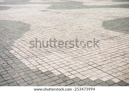 Pavement made of stone in beautiful garden - stock photo
