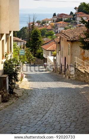 Pavement old street in Ohrid UNESCO town - Macedonia, Balkans. - stock photo