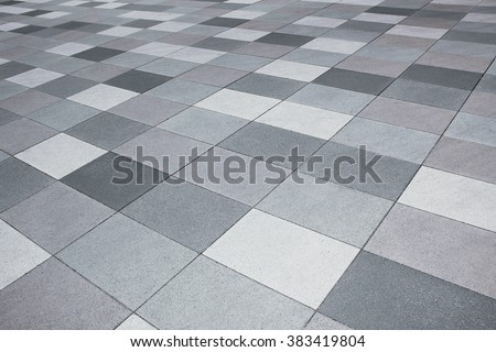 pavement outdoors in shades of grey, diagonal lined - stock photo