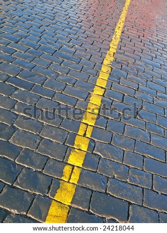 Pavement with yellow line