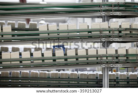 PAVIA, ITALY - 16 APRIL 2012: Vacuum-packed bags of white rice travelling along a conveyor belt towards the packaging area inside a rice processing and packaging plant in Pavia, Italy.