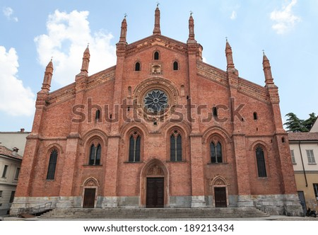 PAVIA, ITALY - JULY 9, 2013: Front side of Santa Maria del Carmine Church in Pavia, Italy, 14th century church considered one of the best examples of Lombard Gothic architecture.  - stock photo