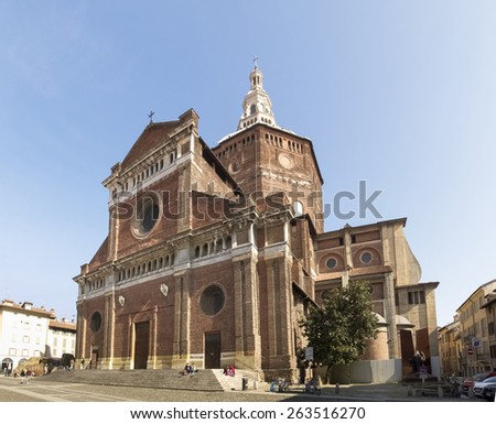 Pavia, Italy - March 8, 2015: Renaissance Cathedral, has a great octagonal dome masonry, among the largest in Italy for height and width.