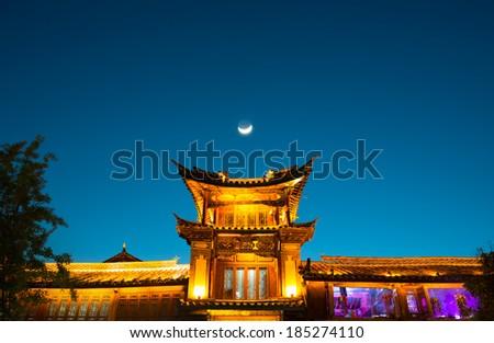Pavilion at night. Located in Lijiang Ancient City, Yunnan Province, China. - stock photo