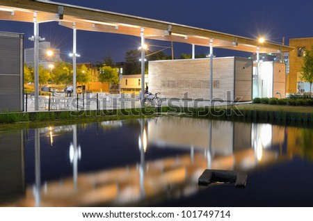 Pavilion at Railroad Park in Birmingham, Alabama, USA - stock photo