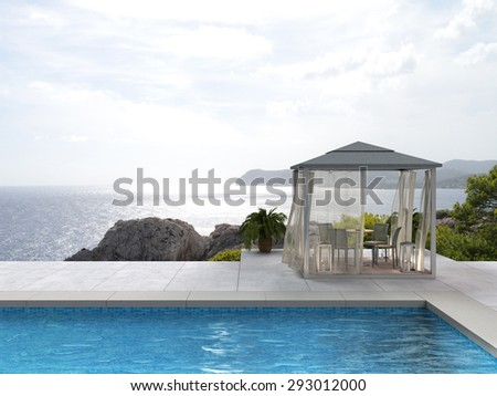 pavilion by the pool with a view to the sea - fictitious 3D rendering - stock photo